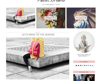 "Blogger Template Responsive ""Pastel Dreams"" // Pastel Beauty Blogger Premade Blog Blogspot Theme Design"