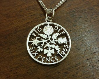 1965 Sixpence - Cut Out Coin Necklace