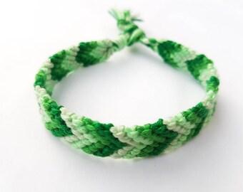 Pulsera de la amistad - tonos verdes