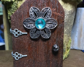 Fairy Door Stained with Glossy Gem and Hardware
