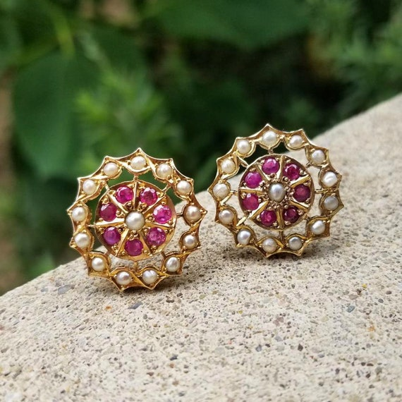 Vintage Art Deco 18k gold ruby and seed pearl  pierced halo earrings, butterfly clutch back posts, circa 1920