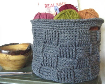 DIY Crochet Pattern:  basket, basketweave, woven bin with handles, storage home decor, round basket, InStAnT DoWnLoAd, Permission to Sell