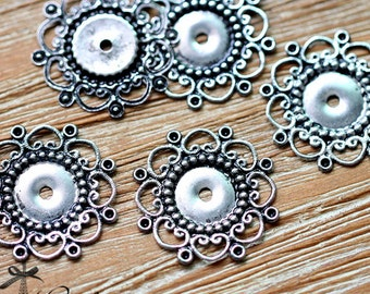 Antiqued Silver  plated RAW brass Filigree  Jewelry Connectors Setting Cab Base Connector Finding  (FILIG-AS-3)