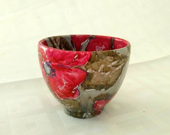 Modern handmade ceramic bowl, unique piece, signed by the artist