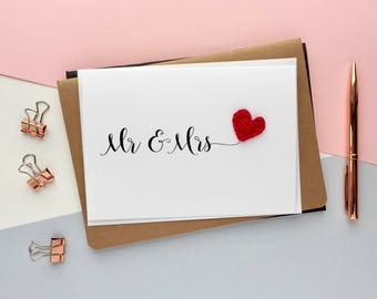Mr & Mrs card -Bride and Groom card - Wedding congratulations card - Wedding card - simple wedding card