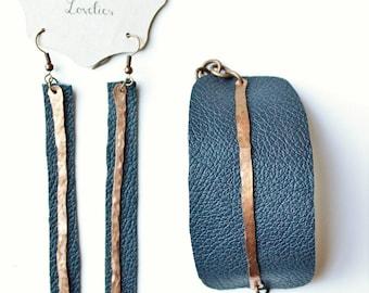 Leather bracelet and earrings set, Leather cuff, copper earrings, copper bracelet
