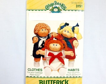 Butterick 3151/353 Cabbage Patch Kids Sailor Dress with Transfers Doll Clothes Pattern 1985 Three Pieces Cut (Dress C) Xavier Roberts