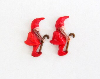 Vintage Plastic Red Gnome Elf Set of 2/ Hand Painted Jewelry Embellishment / Miniature Elf with Cane