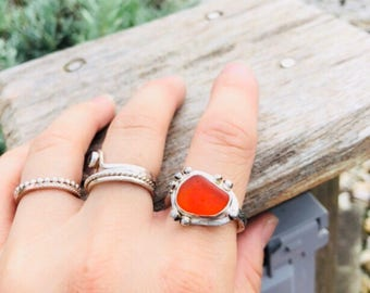Sea Glass Ring, sea glass heart ring, engagement ring, bezel set in argentium silver, cherry red english sea glass, rare, Eco friendly,beach