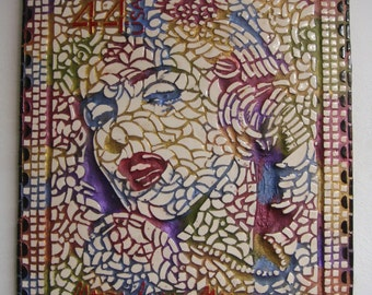 Mosaic Marilyn Monroe picture U.K Artist handcrafted design art