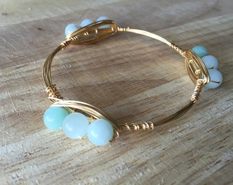 Wire Wrapped Bead Bangle | Wire Wrapped Aqua Bead Bracelet | Bead Bangle | Bead Bracelet