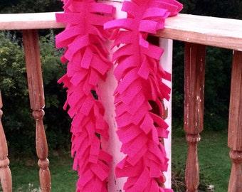 Hot Pink Fringed Fleece Scarf Spirit Scarf Soft Scarf Hot Pink Scarf