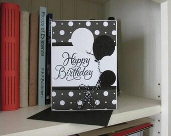 Black & White Balloons Birthday
