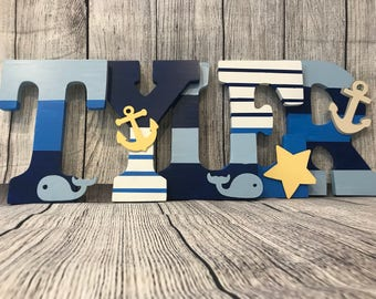 Nautical nursery wooden letters