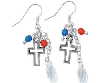 Patriotic Cross Earrings by Homestead Crafter