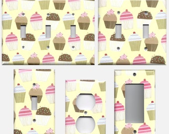 Cream Vanilla & Chocolate Cupcakes Bakery Theme Frosting and Sprinkles Light Switchplates and Wall Outlet Covers Home Decor Accents