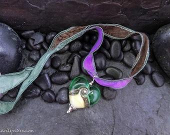 "Handmade ""Sea Glass"" Italian Glass Heart on Hand dyed Silk Necklace"