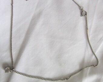 Vintage Chain Necklace with Faux Diamond Pendant