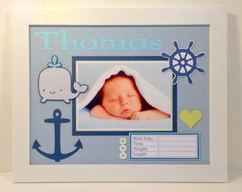 Baby Boy Nautical Nursery Picture Frame - Birth Announcement - Personalized 11x14 Frame - Any Colors You Specify