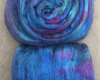Silk Brick, Hand Dyed A1 Mulberry Silk Tops, Spinning, Feltmaking, Silk Fusion, Silk Roving, Colour No.57 Oil Slick