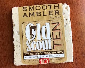 Bourbon Coaster - Whiskey Coaster - Old Scout Bourbon Coaster - Smooth Ambler Old Scout Ten Whiskey Coaster