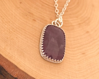Natural Pink Sapphire Pendant Necklace.
