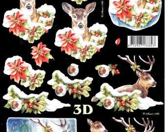 3d image sheet to cut deer and doe in the snow