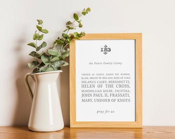 Custom Personalized Litany for Family or Personal use! Catholic Saint Listing Print, House warming gift, wedding gift, anniversary gift