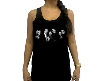 Friends Celebrities Women Tank Top Singlet Vest Tunic Tee Shirt Black / Dark Gray