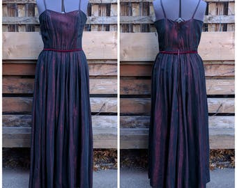 Vintage 1950's Black and Wine Red Acetate Taffeta Full Length Evening Gown
