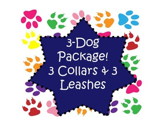 Dog Collar - 3 Dog Package! 3 (Non-Martingale) Collars & 3 - 6 Ft Leashes - Choose Any Fabric in Shop