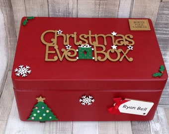 Personalised Wooden Christmas Eve Box, Wooden Christmas Eve Box, Personalised Christmas Eve Box, Keepsake Box