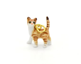 Tiny Porcelain Orange Tiger Cat Charm Cat Pendant Hand Painted Porcelain Charm Glass Cat Charm Vintage Style Jewelry Supplies (AT064)