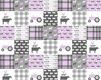 Farm Baby Quilt, Tractor Cow Plaid Baby Blanket, Purple Nursery Quilt, Girl Crib Bedding, Modern Minky Baby Blanket, Rustic Girl Quilt