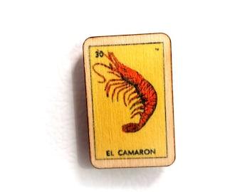 El Camaron Loteria Mexican Bingo Wooden Refrigerator Magnet