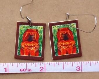 Zen Chow dog Earrings, signed mini reproductions of my original artwork
