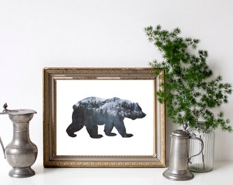 bear printable, nature printable, rustic woodland art, bear art print, woods art print, rustic decor, wildlife decor, forest wall art