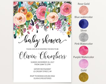 Floral oh baby baby shower invitation template diy instant baby shower invitations floral baby shower invitation template diy instant download jpeg pink flower invite text color change 19a stopboris Choice Image