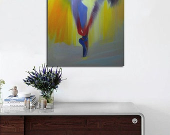 Gift for Her Giclee print canvas art, Yellow Modern Art Print, Ballerina Print of Painting, Woman Print by Yuri Pysar