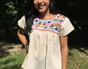 Embroidered blouse,Oaxaca blouse,off white,Small,S,Mexican blouse,top,boho blouse, Cotton blouse, red, purple,huipel