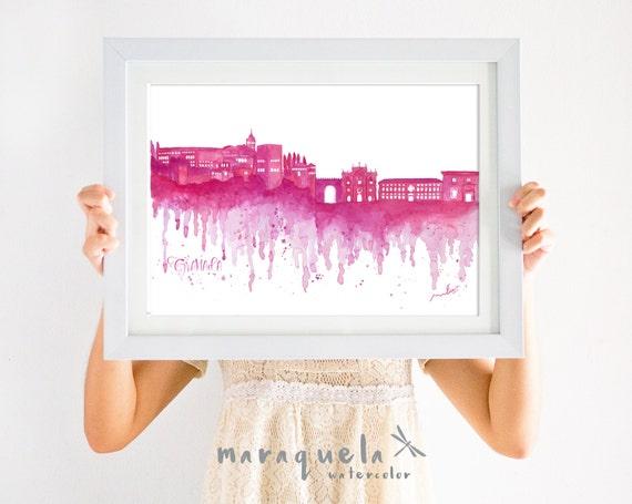 GRANADA Skyline Wine Red hues, watercolor skyliner Granada city.