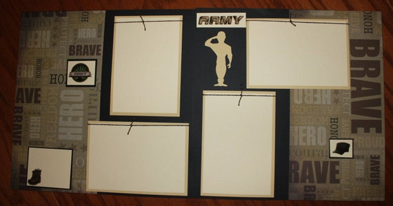 Army 12 X 12 Premade Scrapbook Layout Double Paged And Photo Ready