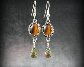 Tiger Eye and Rainforest Jasper sterling silver earrings