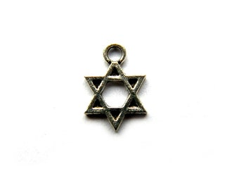 20 Silver Star of David Charms