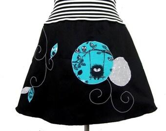 Yuki black and turquoise skirt and striped belt