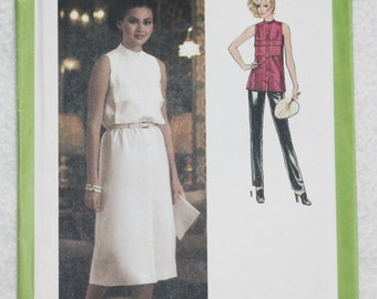 """Size 10 Bust 32.5""""  Vintage 70'sSimplicity Sewing Pattern 8997 Sleeveless Dress or Tunic, Stand-up Collar and Front Pockets"""