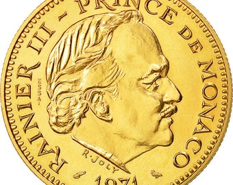coin monaco 5 francs 1971 ms(65-70) gold kme60 gadourymc 153