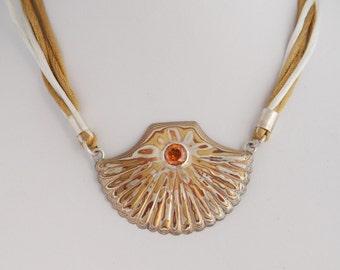Mokume gane pendant etsy shell necklace mokume gane pendant with topaz aloadofball Gallery