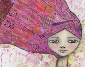 Pink Haired Dreamer, Fine Art Print, Art Work, Fine Art, Original Painting, Mixed Media, Whimsical Art, Girl Art, Gift for Women