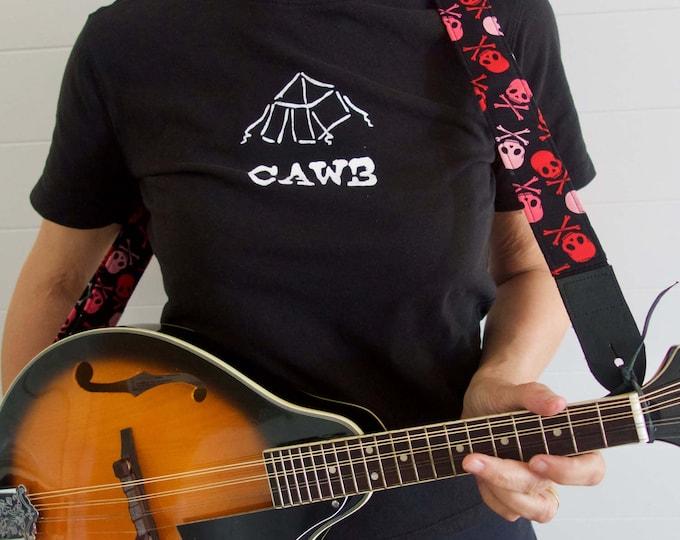 Ukulele strap, mandolin strap, child guitar strap // pastel punk skull and crossbones // pink, red and black instrument strap musician gift